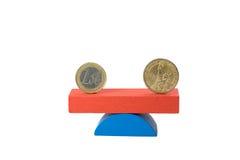 Concetto del dollaro americano e dell'euro isolato Fotografia Stock