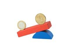 Concetto del dollaro americano e dell'euro isolato Immagine Stock Libera da Diritti