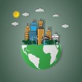 Concetto del eco e natura con le costruzioni sul vettore del globo Fotografia Stock Libera da Diritti