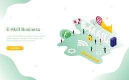 Concetto del email o del email con la grande parola e la busta per il sito Web o progettazione del homepage di atterraggio di web royalty illustrazione gratis