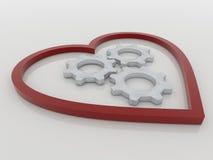 Concetto del fondo degli ingranaggi e del cuore Fotografia Stock