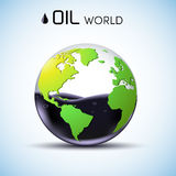Concetto del fondo dell'azione petrolifera del mondo di vetro Vettore Fotografia Stock Libera da Diritti