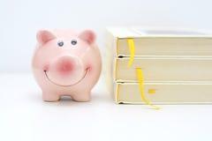 Concetto del fondo dell'istituto universitario con il porcellino salvadanaio che sta vicino ad un mucchio dei libri Fotografie Stock