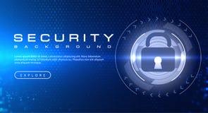 Concetto del fondo di tecnologia di sicurezza con gli effetti della luce astratti del testo di codice binario royalty illustrazione gratis