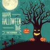 Concetto del fondo di tempo di Halloween nel retro stile royalty illustrazione gratis