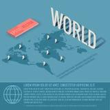 Concetto del fondo di vettore di affari della mappa di mondo Immagine Stock