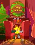 Concetto del fumetto di Natale con le coppie della famiglia che si siedono davanti al camino Fotografia Stock Libera da Diritti