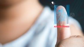 Concetto del futuro di sicurezza attraverso le impronte digitali, K asiatico Immagini Stock Libere da Diritti