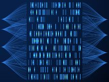 Concetto del genoma del DNA Genoma che prova mappa medica, ordinamento del gene Fondo di vettore della soluzione di scienza illustrazione di stock