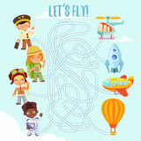 Concetto del gioco con i piloti ed i veicoli di corrispondenza Fotografie Stock
