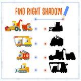 Concetto del gioco con le automobili di corrispondenza e le loro ombre Immagini Stock