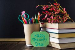 Concetto del giorno dell'insegnante Oggetti su un fondo della lavagna Libri, mela verde, placca: Il giorno, le matite e le penne  Fotografie Stock Libere da Diritti