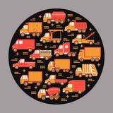 Concetto del giro di industria di autotrasporti con differenti tipi di camion nello stile piano illustrazione di stock