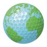 Concetto del globo del mondo della sfera di golf Fotografia Stock