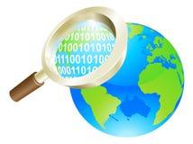 Concetto del globo del mondo di dati binari della lente d'ingrandimento Fotografie Stock