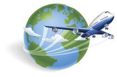 Concetto del globo dell'aeroplano Fotografia Stock