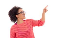 Concetto del gossip - adolescente afroamericano grazioso felice Fotografie Stock Libere da Diritti