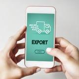 Concetto del grafico del camion della spedizione di importazioni-esportazioni Fotografie Stock Libere da Diritti