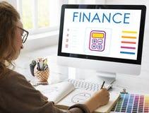 Concetto del grafico di calcolo del calcolatore di contabilità di finanza Immagini Stock Libere da Diritti