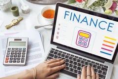 Concetto del grafico di calcolo del calcolatore di contabilità di finanza Fotografia Stock