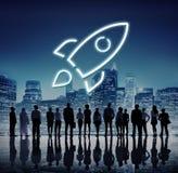 Concetto del grafico di inizio del lancio dell'innovazione riuscito nuovo immagine stock