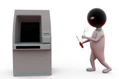 concetto del ladro di bancomat dell'uomo 3d Fotografia Stock Libera da Diritti