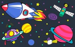 Concetto del lancio della terra del disegno degli aerei dei pianeti illustrazione di stock