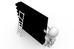 concetto del leder della parete dell'uomo 3d Fotografia Stock Libera da Diritti
