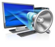 Concetto del megafono del computer Immagine Stock Libera da Diritti