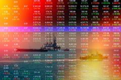 Concetto del mercato azionario con l'impianto offshore nel golfo Fotografie Stock