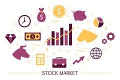 Concetto del mercato azionario Strategia dell'orso e del toro finanziario illustrazione di stock