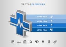 Concetto del modello di Infographic di vettore di sanità 3D dell'ospedale con Fotografie Stock Libere da Diritti