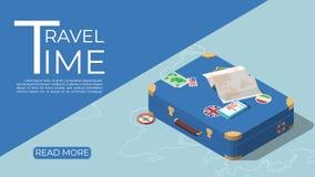 Concetto del modello di turismo nello stile isometrico royalty illustrazione gratis