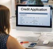 Concetto del modulo di domanda della carta di credito Immagini Stock Libere da Diritti