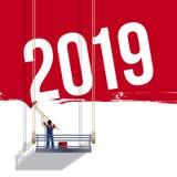 Concetto del murale per presentare l'anno 2019 illustrazione vettoriale