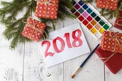 Concetto del nuovo anno 2018 con tiraggio fotografia stock libera da diritti