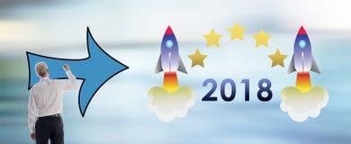 Concetto 2018 del nuovo anno disegnato dall'uomo Fotografia Stock