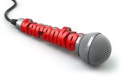 Concetto del partito di karaoke Due microfoni con testo Immagini Stock