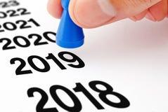 Concetto 2019 del pegno di transizione di anno immagini stock