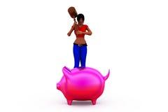 concetto del porcellino salvadanaio della donna 3d Fotografie Stock