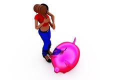 concetto del porcellino salvadanaio della donna 3d Fotografia Stock Libera da Diritti