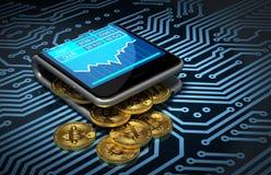 Concetto del portafoglio e di Bitcoins di Digital sul circuito stampato Fotografie Stock