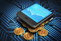 Concetto del portafoglio e di Bitcoins di Digital sul circuito stampato Fotografia Stock