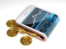 Concetto del portafoglio rosa e di Bitcoins di Digital Fotografia Stock