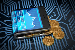 Concetto del portafoglio virtuale e di Bitcoins sul circuito stampato Immagine Stock Libera da Diritti