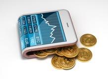 Concetto del portafoglio virtuale rosa e di Bitcoins Fotografia Stock Libera da Diritti