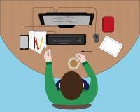 Concetto del posto di lavoro con tecnologie informatiche Immagini Stock Libere da Diritti