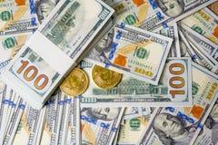 Concetto del concetto del primo piano dei dollari del dollaro cento bil del dollaro fotografia stock