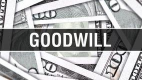 Concetto del primo piano di benevolenza Dollari americani di denaro contante, rappresentazione 3D Benevolenza alla banconota del  illustrazione di stock