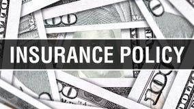 Concetto del primo piano di polizza d'assicurazione Dollari americani di denaro contante, rappresentazione 3D Polizza d'assicuraz royalty illustrazione gratis